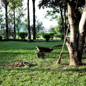 tuin tuinonderhoud hovenier bezem kruiwagen gras tuin onderhoud